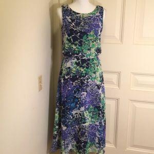 JBS Blue And Green Floral Dress. Missing Belt.